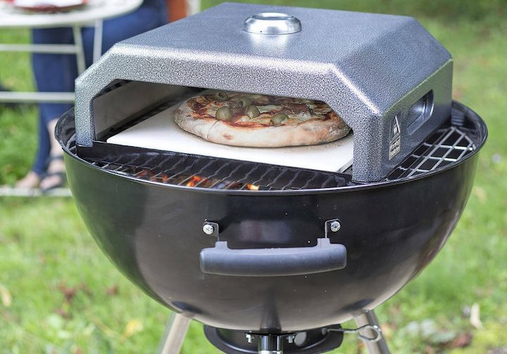 pizza stone on grill box