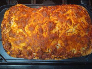 Artisan pizza baked 1