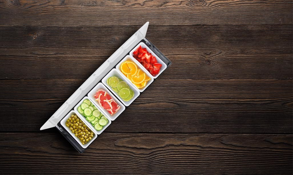 6-Tray Pizza Topping Organizer on wood surface